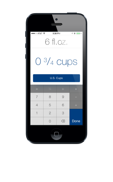 "Editing an amount. At the very top of the screen, ""six fluid ounces"" is small and de-emphasized, while ""zero and three over four cups"" is larger. Below that, a calculator keypad can be used to edit the amount, including addition, subtraction, multiplication, division, and fractions."