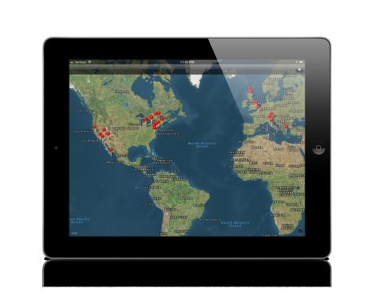 Main map view on an iPad.